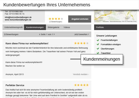 Kundenbewertungen Ihres Unternehmens werden auf der Detailseite angezeigt